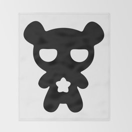 Cute Lazy Bear Black and White Throw Blanket