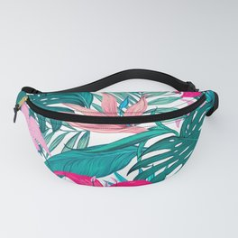Beautiful Tropical Leaves and Flowers Fanny Pack