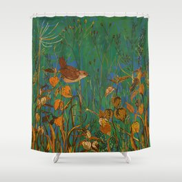 Winter Glimpses - Wren and Physalis Shower Curtain