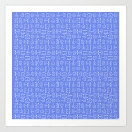 Crowns - blue and white Art Print