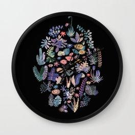 flower circle in black Wall Clock