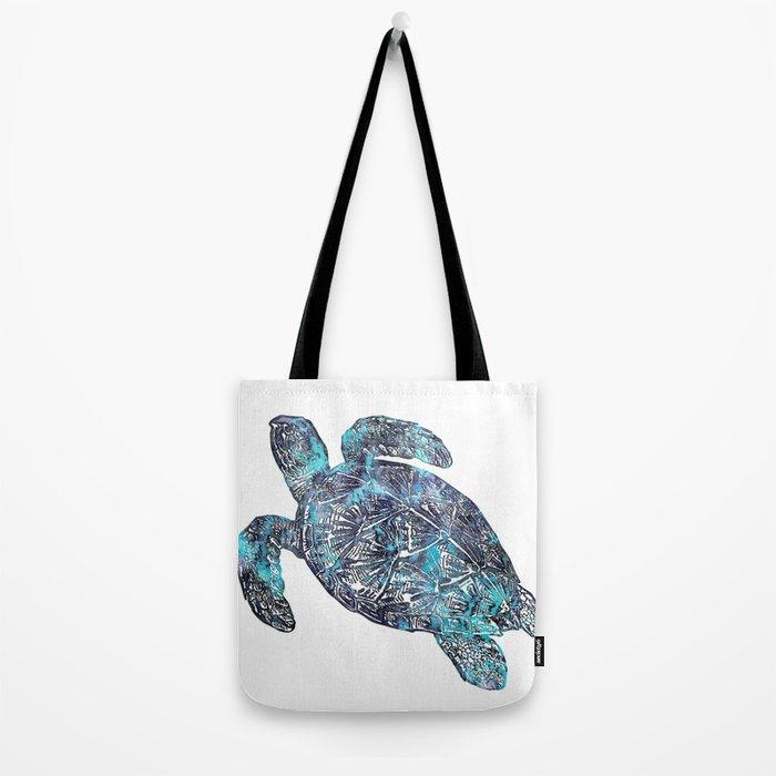 Sea Turtle Blue Watercolor Art Tote Bag