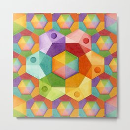 Rainbow Hexagons Metal Print