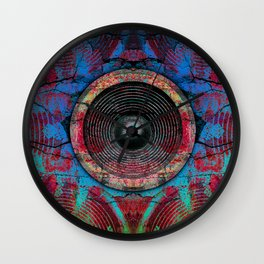 Red music speakers on a cracked wall Wall Clock