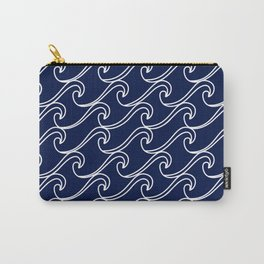 Rough Sea Pattern - white on navy blue Carry-All Pouch