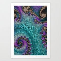 Aqua Fronds Art Print