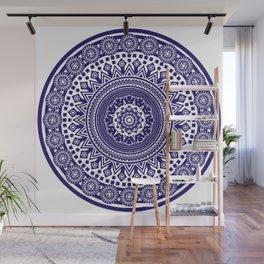 Mandala 006 Midnight Blue on White Background Wall Mural