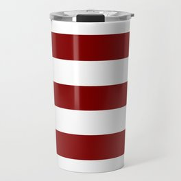 Maroon (HTML/CSS) - solid color - white stripes pattern Travel Mug