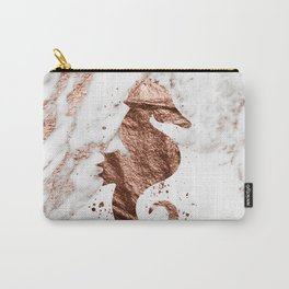 Rose gold seahorse marble Carry-All Pouch