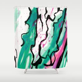 AquaPink Graffiti  Shower Curtain