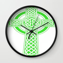 St Patrick's Day Celtic Cross Green and White Wall Clock