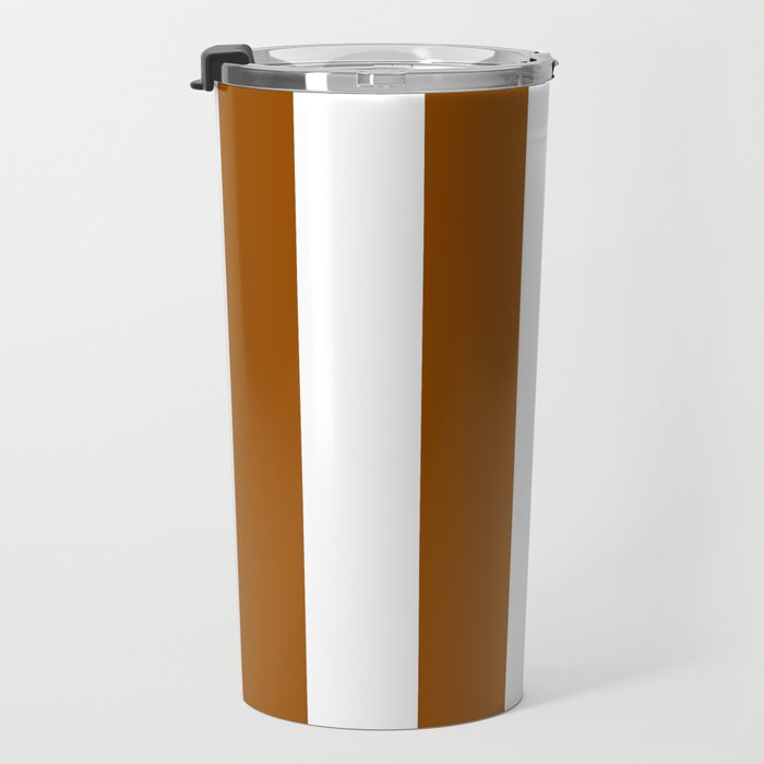 Vertical Stripes - White and Brown Travel Mug
