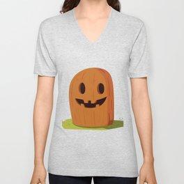 Pumpkin smiles cheerfully Unisex V-Neck