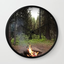 Backpacking Camp Fire Wall Clock