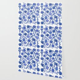 Floral China Blue Watercolor Pattern Wallpaper