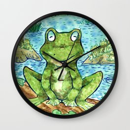 Chillin' Frogs Wall Clock