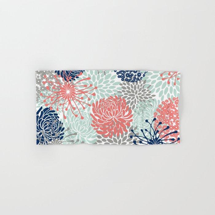 Fl Print C Pink Pale Aqua Blue Gray Navy Hand Bath Towel By Meganmorrisart