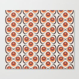 Orange, Brown, and Ivory Retro 1960s Circular Pattern Canvas Print