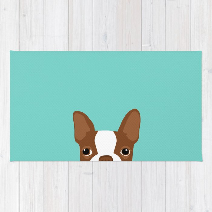 Red Boston Terrier Rug