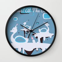 panic at the disco Wall Clocks featuring Panic! at the Disco - Candle Swans by Shana Marie