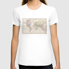 Vintage Map of The World (1856) T-shirt