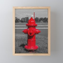 Bright Red Mueller Super Centurion Fire Hydrant Freshly Painted Fireplug Framed Mini Art Print