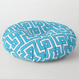 Greek Key - Turquoise Floor Pillow