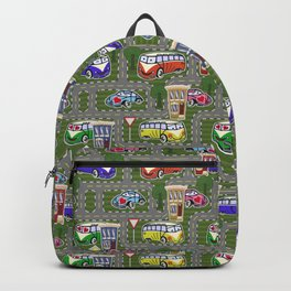 Funny City with Cars and Roads Pattern Backpack