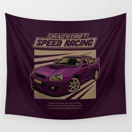 Speed Racing Car Illustration Wall Tapestry