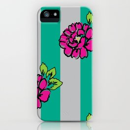Pop Pink Flowers on Mint Stripe Pattern iPhone Case