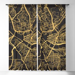 PITTSBURGH PENNSYLVANIA GOLD ON BLACK CITY MAP Blackout Curtain