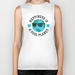 Happiness Is A Cool Planet Biker Tank