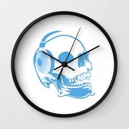 Skull with headphones Wall Clock