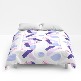 Modern abstract blush pink violet teal watercolor geometrical floral Comforters