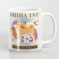 shiba inu Mugs featuring Shiba Inu Seed Company wildflower seed artwork by Stephen Fowler by gemini studio art by Stephen Fowler