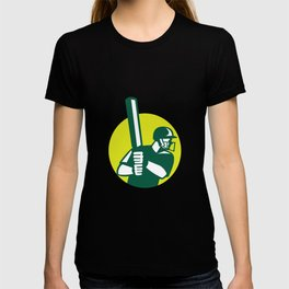 Cricket Batsman Batting Icon Retro T-shirt