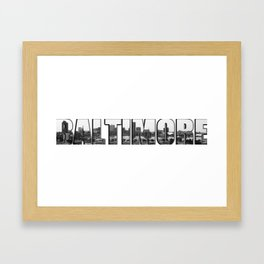 Baltimore City - A Panorama B&W Framed Art Print
