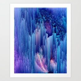 Beglitched Waterfall - Abstract Pixel Art Art Print
