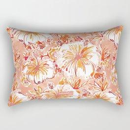 KOMBUCHA-CHA Orange Tropical Hibiscus Floral Rectangular Pillow