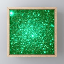 Emerald Green Glitter Stars Framed Mini Art Print