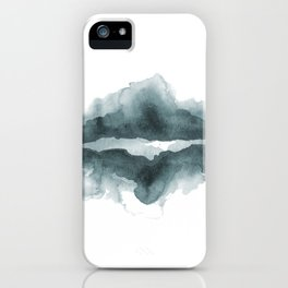 Mountain Reflections on a Lake in Blue iPhone Case