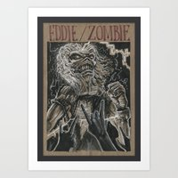 iron maiden Art Prints featuring Eddie the Head / Iron Maiden (DRAWLLOWEEN 8/31) by pakowacz