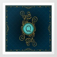 monogram Art Prints featuring Monogram Q by Britta Glodde