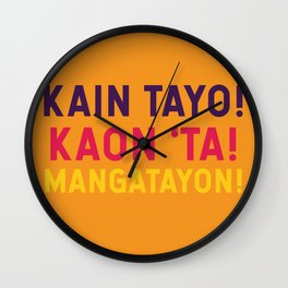 Filipino Kitchen Loteria - Let's Eat Wall Clock