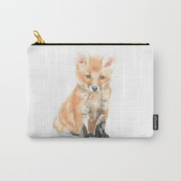 Baby Fox Watercolor Painting - Woodland Animal Carry-All Pouch