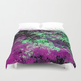 Colour Interaction II - Abstract purple, green and black textured, mixed media art Duvet Cover