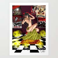pinup Art Prints featuring PinUp  by leFayIllustrations