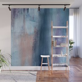In a Blur: an abstract mixed media piece in pinks, blues, and purple Wall Mural