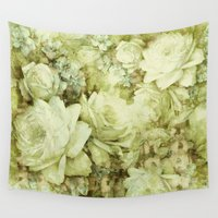 climbing Wall Tapestries featuring white climbing rose by clemm