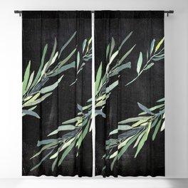 Eucalyptus leaves on chalkboard Blackout Curtain